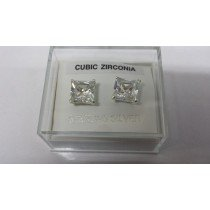 Pair of 8mm Square Sterling Silver Cubic Zirconia Studs (139)