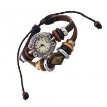 Beautiful Leather Wrap Bracelet Quartz Watch (Square Cross Design)