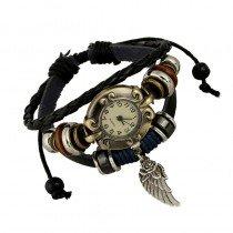 Beautiful Leather Wrap Bracelet Quartz Watch (Wing Feather Design)
