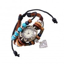 Beautiful Leather Wrap Bracelet Quartz Watch (Diamond Design)