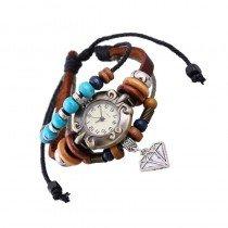 Beautiful Leather Wrap Bracelet Quartz Watch (Diamond Design)