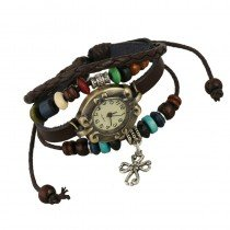 Beautiful Leather Wrap Bracelet Quartz Watch (Celtic Cross Design)