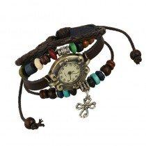 Beautiful Leather Wrap Bracelet Quartz Watch (Celtic Cross Design)
