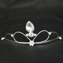 Bridal Tiara - Silver With Big Diamond (T2169)