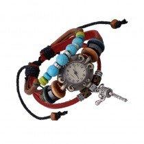 Beautiful Leather Wrap Bracelet Quartz Watch (Shaker Design)