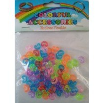 1 X Pack of 100 C Clips For Loom Bands (Trans Neon Colours)
