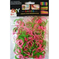 NEW 2 Tone Loom Bands- (Pink And Green) 300s x 12 Packs