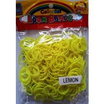 Colourful Loom Bands Bright Yellow Colour (Lemon Scented 300s) 12 Packs