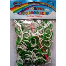 NEW 2 Tone Loom Bands- (Green And White) 300s x 12 Packs