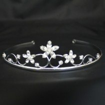 Bridal Tiara - Diamond Flowers -Silver (GS40302)