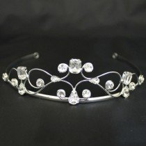 Bridal Tiara Plaited Diamonds - Silver (40403)