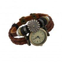 Beautiful Leather Wrap Bracelet Quartz Watch (Floral Daisy Design)