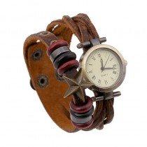 Beautiful Leather Wrap Bracelet Quartz Watch (Five Point Star Design)