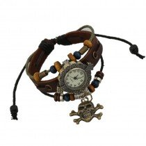 Beautiful Leather Wrap Bracelet Quartz Watch (Pirate Cross Bone Design)