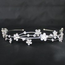 Bridal Tiara Diamond Flowers - Silver (GS21151)