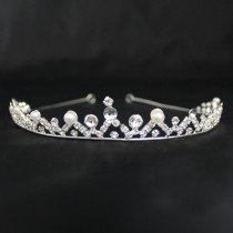 Bridal Tiara Pearl & Diamond- Silver (40301)