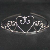 Bridal Tiara Heart Design - Silver (T2167)