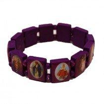 Rosary Type Bracelet - Jesus & Saints - Violet