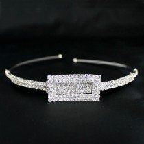 Bridal Tiara Rectangle Diamond Detail - Silver (GS21371)