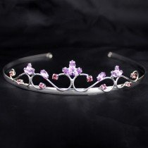 Bridal Silver Tiara- Purple Diamond