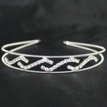 Row Spiral & Waves Diamante Tiara - Silver