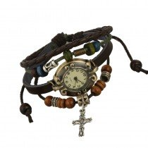 Beautiful Leather Wrap Bracelet Quartz Watch (Cross Design)