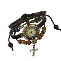 Beautiful Leather Wrap Bracelet Quartz Watch (Cross Design)