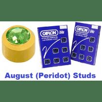 Pack Of 12 Caflon Mini Birthstones August (Peridot) Ear Piercing Studs - 24ct