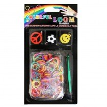 6 x DIY Colourful Loom Band Charm Kits (Boy Charm Football Happy Face Designs)