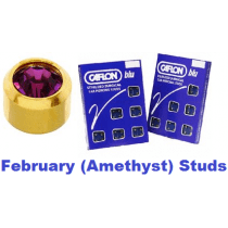 Pack Of 12 Caflon Mini Birthstones February (Amethyst) Ear Piercing Studs - 24ct