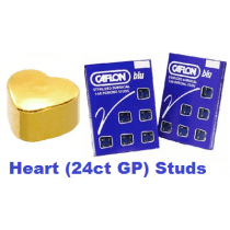 Pack Of 12 Caflon Heart Shaped Ear Piercing Studs - 24ct Regular