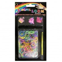 6 x DIY Colourful Loom Band Charm Kits (Girly Charm Crown Cat Heart Designs)