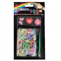 6 x DIY Colourful Loom Band Charm Kits (Girly Charm Red Hearts Butterfly Designs)