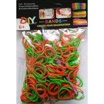 NEW 2 Tone Loom Bands- (Orange And Green) 300s x 12 Packs