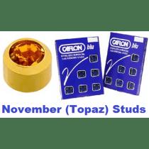 Pack Of 12 Caflon Mini Birthstones November (Topaz) Ear Piercing Studs - 24ct
