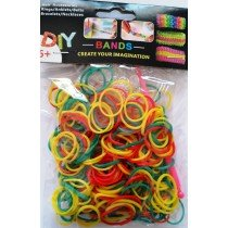 Colourful Loom Bands (Rasta 300s) 12 Packs