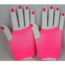 Short Neon Fishnet Fingerless Gloves one size - Pink