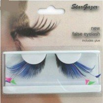 Stargazer Reusable False Eyelashes Blue with Pink and Green Feathers 62